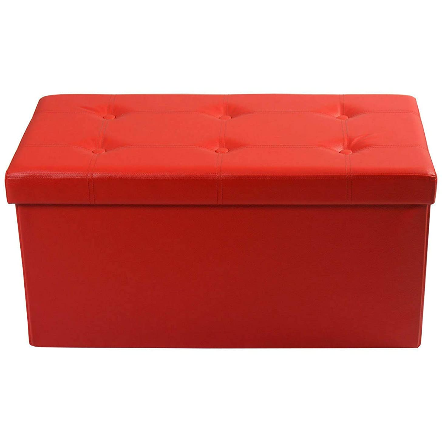 Red Large Folding Storage Ottoman Pouffe Faux Leather Box Stool Case Relax Seat Bench Footstool w/Storage(U.S. Stock)