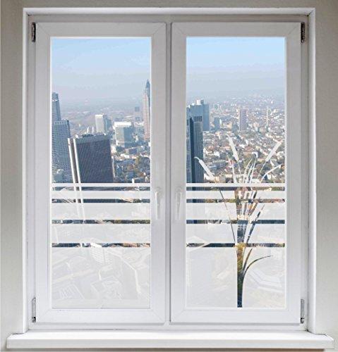 INDIGOS UG Sichtschutzfolie Fensterbild Fensterfolie Glasdekor Rohrkolben Bambus satiniert Blickdicht ORACAL® - 500-2000 mm - Dekoration Sonnenschutz Folie