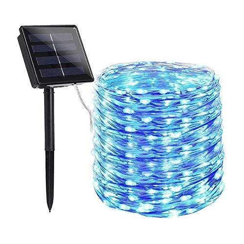 Cadena de luces solares LED, resistente al agua, 2 x alambre de cobre (azul y blanco, 200 LED)