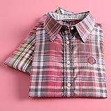 A-HXTM Camisa Moda Mujer Camisas a Cuadros Blusas de Manga Larga Señora Oficina Algodón Camisa Casual Estilo Novio Las Tapas se aplican al Trabajo Negocios o Uso Diario etc.-XL_2007