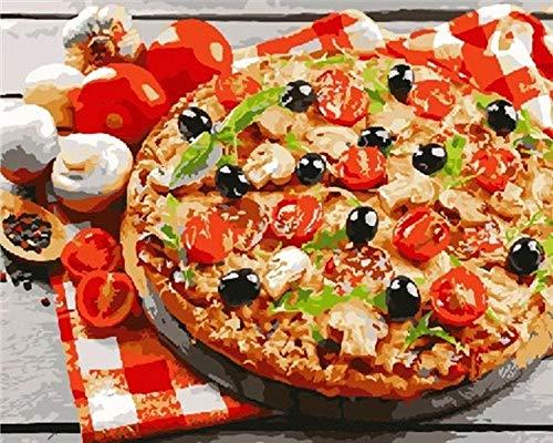 Pintar por Numeros para Adultos Niños Pizza DIY Pintura al Óleo Pintura por Números con Pinceles y Pinturas Decoraciones para el Hogar (40 x 50 cm Sin Marco)