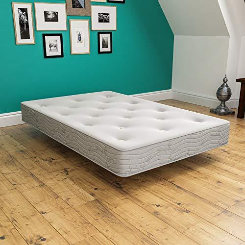 Vida Designs Luxurious Spring Foam Mattress, Upholstered, Medium Firmness, Rolled, Small Double 4ft, 9 Inch, UKFR