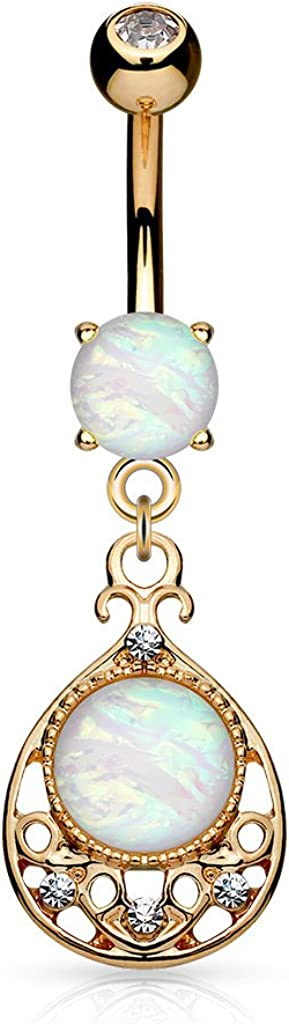 Amelia Fashion 14GA Vintage Glitter Center Opal Dangle Belly Button/Navel Ring 316L Surgical Steel (Choose Color)