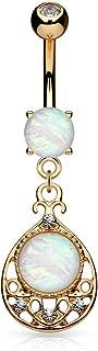 14GA Vintage Glitter Center Opal Dangle Belly Button/Navel Ring 316L Surgical Steel (Choose Color)