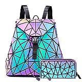 LOVEVOOK Geometrische Rucksack Geldbörse Set, Holographic Leuchtende Taschen Damen Daypack Purse Brieftasche Kartentasche