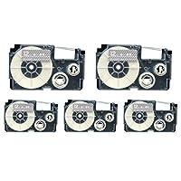 カシオ用 ネームランド 互換 テープカートリッジ 12mm 5個セット (透明テープ/白文字)