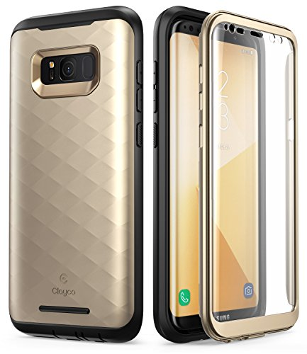 Samsung Galaxy S8 Plus Case, Clayco [Hera Series] Full-Body Rugged Case with Built-in Screen Protector for Samsung Galaxy S8 Plus (2017 Release) (Gold)