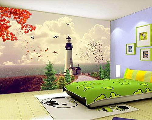 SKTYEE Mittelmeer Stil Meer Leuchtturm Tapete 3D Wand Mura Fototapeten für Kinder Kinder Schlafzimmer Wasserdichtes Kontaktpapier, 400x280 cm (157.5 by 110.2 in)