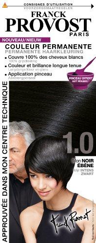 FRANCK PROVOST - Couleur Permanente Noir Ébène 1.0 + Pinceau Professionnel Offert