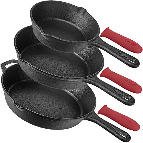 Pre-Seasoned Cast Iron Skillet 3-Piece Chef Set (6-Inch 8-Inch and 10-Inch) Oven Safe Cookware - 3 Heat-Resistant Holders - Indoor and Outdoor Use - Grill, Stovetop, Induction Safe