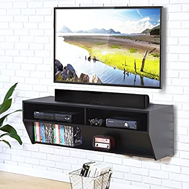 FITUEYES Wall Mounted Audio/Video Console wood grain for xbox one /PS4/ vizio/ Sumsung/sony TV.DS212302WB