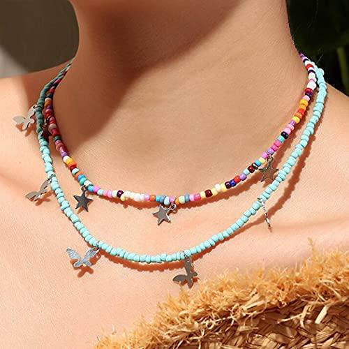 Aukmla Gargantilla de mariposa bohemia con colgante de estrella de plata, collar con cuentas de...