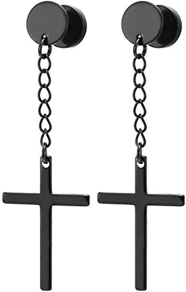 Covet Jewelry Cross on Chain Dangle 16 Gauge 316L Surgical Steel Fake Plugs