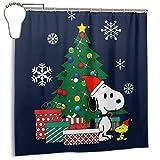 GSEGSEG Wasserdichter Polyester-Duschvorhang Snoopy & Woodstock um den Weihnachtsbaum, dekorativer Badezimmer-Vorhang mit Haken, 183 x 183 cm