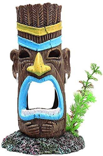 YIHGJJYP Acuario Equipo Accesorio Ecosphere Maya aborigen Totem Paisaje del Acuario Decoración decoración de poliresina Cueva Pintada Top Juguetes del Regalo de la Navidad Presente