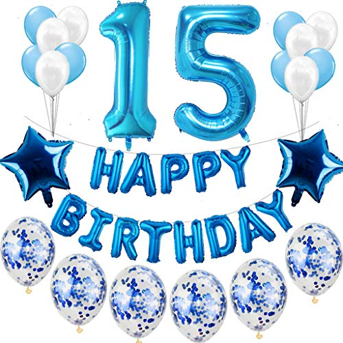 Haosell Juego de decoración para cumpleaños de 15 años, color azul