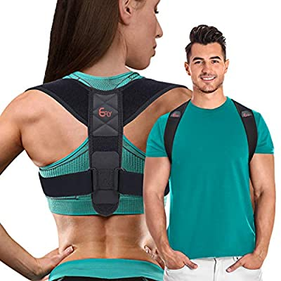(2020 New) Posture Corrector for Women Men - Posture Brace Adjustable Back Straightener, Comfortable Upper Clavicle Support Device for Thoracic Kyphosis and Back Pain Relief (New (26-48)) from E-BB501