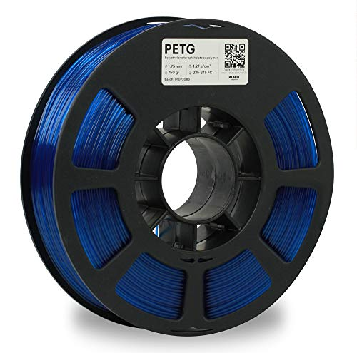Kodak 3D PETG Printer Filament Translucent Blue Color, 0.02 mm, 750g (1.6lbs) Spool, 2.85 mm. Lowest Moisture Premium Filament in Vacuum Sealed Aluminum Ziploc Bag. Fit Most FDM Printers