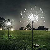 XVZ Solar Garden Lights, 2 Pack 120 LED Solar Powered Firework Light,2 Modes and Waterproof DIY Outdoor Decoration Light for Walkway Pathway Backyard Christmas Party Decor(Cold White)
