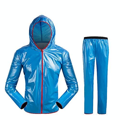 SQYY Outdoor Split Regenmantel Regenhose Anzug Erwachsene Wasserdicht PVC Bergsteigen Schnee Reiten Kapuze Poncho Fahrrad Regen Klein Und Leicht Zu 100% Wasserdicht Und Atmungsaktiv Zu Tragen,L