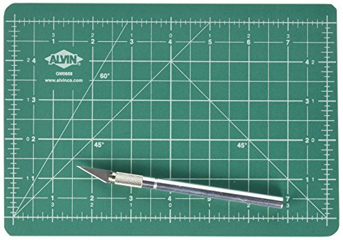 Alvin, Self-Healing Cutting Mat Kit, Double-Sided Mat with Art Knife, GBM Series, Gridded Rotary Cutting Board for Crafts, Sewing, Fabric - 6 inches x 8.5 inches