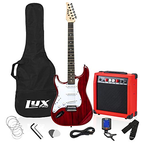 LyxPro Left Hand 39 Inch Electric Guitar and Starter Kit for Lefty Full Size Beginner's Guitar, Amp, Six Strings, Two Picks, Shoulder Strap, Digital Clip On Tuner, Guitar Cable and Soft Case - Red
