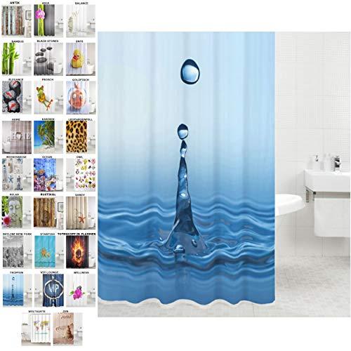 Sanilo Duschvorhang, viele schöne Duschvorhänge zur Auswahl, hochwertige Qualität, inkl. 12 Ringe, wasserdicht, Anti-Schimmel-Effekt (Tropfen, 180 x 180 cm)