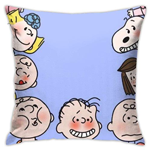 Wind Throw Pillow Covers Snoopy Charlie and Friends Photo-Square Shape Decorative Cushion Cover for Couch Sofa Pillow Set Fundas para Almohada 22x22Inch(55cmx55cm)