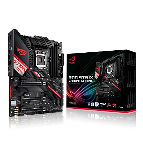 ASUS ROG STRIX Z490-H Gaming, Scheda Madre Gaming Intel Z490 LGA1200 ATX, 14 Fasi di Potenza, AI Overclocking, AI Cooling, AI Networking, Intel 2.5 Gb Ethernet, USB 3.2 Gen 2, SATA, AURA Sync RGB