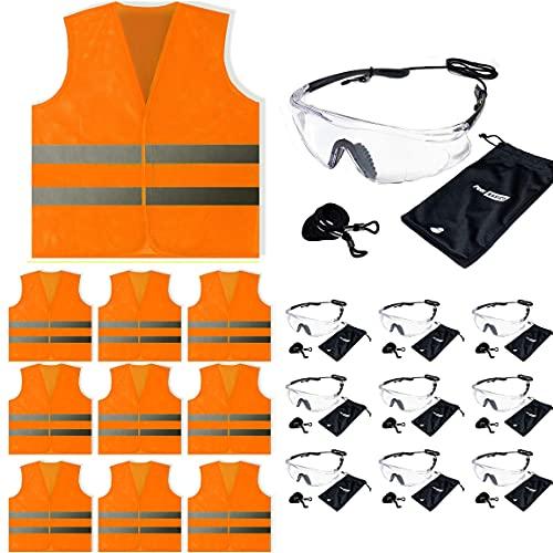 Orange Mesh Vest and Safety Glasses 10 sets (10 Glasses, 10 Mesh Safety Vests, 20 Items Total) (Orange)