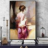 QWEWQE - Quadro da parete in tela nordica, con ballerina romantica, moderna e moderna, senza cornice (40 x 60 cm)