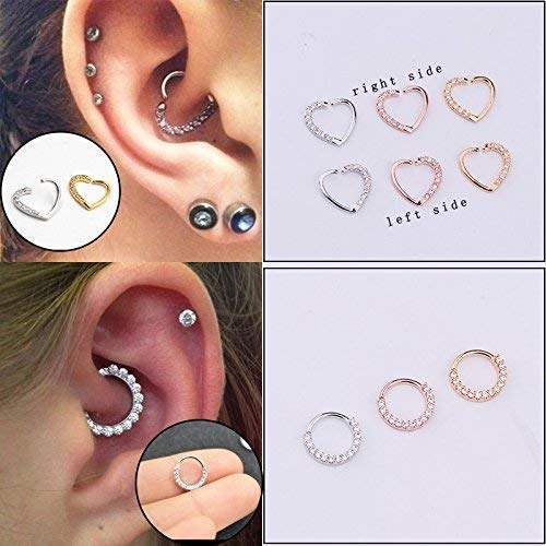 Achieer 1piece Gold Plated Shine CZ Heart & Circle Body Piercing Jewelry Hoop Earring Helix Tragus Daith Cartilage Piercing