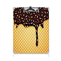 クリップボード A4 アイスクリームの装飾 子供の贈り物バインダー ワッフルチョコレート味のデザート A4 タテ型 クリップファイル ワードパッド ファイルバインダー 携帯便利おいしい背景 スタイリッシュなグラフィック