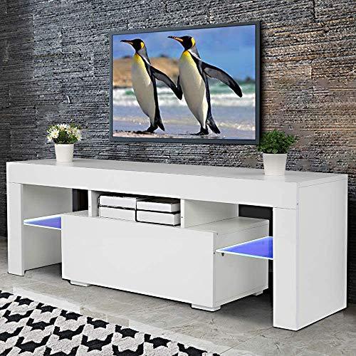 blackpoolal großer TV-Schrank, Fernsehschrank, Fernsehtisch für Fernseher bis 60 Zoll, TV-Regal mit LED-Beleuchtung, Lowboard, Wohnzimmer, 130 x 35 x 45 cm, modern, glänzend (Weiß)