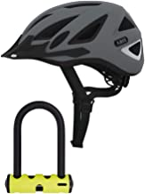ABUS Urban-I Ventilated Bike Helmet with Integrated LED Taillight and U-Lock Bundle (Large, Concrete Gray) CPSC Certified, 180 Degree Light Visibility for Safe City Cycling (2 Items)