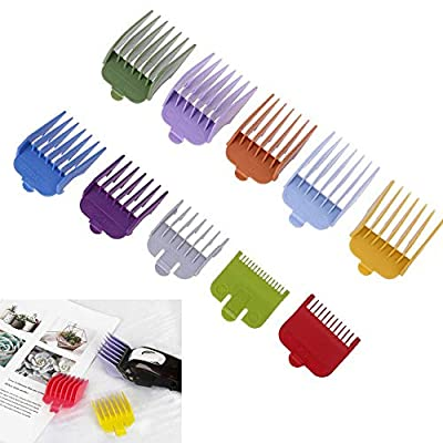 10PCS/Set Professional Hair Clipper Guide Combs Replacement Guards 10 Color 10 Length Attachment Hair Clipper Cutting Limit Combs Fit for Many Wahl Hair Clippers/Trimmers for Barber Salon