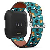 Pattern of Cats and Fishbone in Teal Background - Patterned Leather Wristband Strap Compatible with Fibit Versa,Replacement for Versa Watch Band