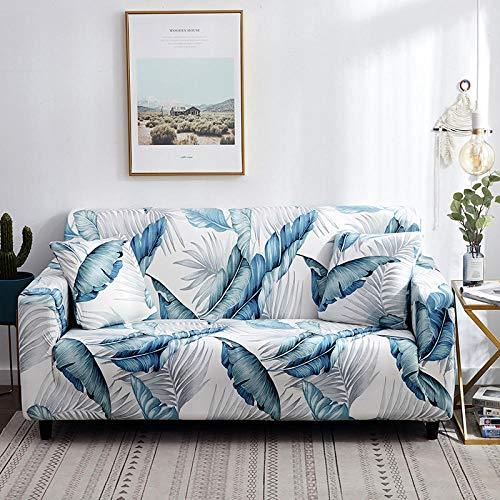 Fundas Sofas 3 y 2 Plazas Ajustables Hojas De Color Azul Zaf
