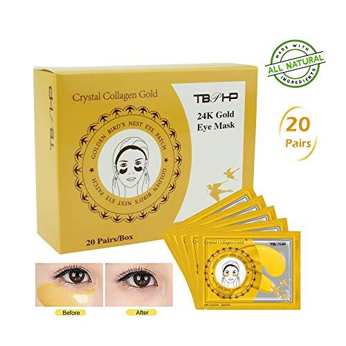 TBPHP Máscara de ojo de colágeno en polvo dorado (20 pares),24K Máscara para ojos de colágeno,Anti-envejecimiento, Máscaras Antiarrugas para Los Ojos,Reduce Las Ojeras, eliminar bolsas bajo los ojos