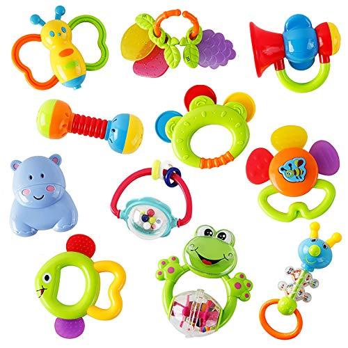 WISHTIME Rassel Beißring Set Baby Spielzeug ab 0 3 6 9 Monate 11 PCS Shaker Greifen Rassel Baby Kleinkind Spielzeug Frühe Lernspielzeug für Jungen Mädchen Baby Geschenke
