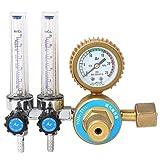 Delaman Reductor de Presión de Argón Regulador de Reductor de Presión de Gas de Argón Accesorio de Soldadura de Medidor de Doble Calibre