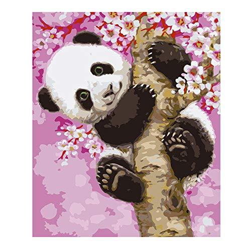 XCQHZYG DIY Digit Panda Sakura DIY Oil Paint By Number Kit, Pittura Paintworks 40X50Cm Decorazioni Regali