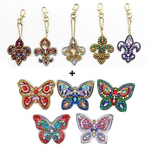 Jestang Schlüsselanhänger, Diamantmalerei-Set, Tasche, Zubehör, Anhänger, mehrere Formen von Diamanten, Schmetterling und Zepter, 10 Stück