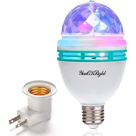 ミラーボール ミニレーザー ステージ照明 ステージライト ディスコボールライト 舞台照明 LED電球 口金直径26mm 3W RGB, 演出 誕生日 結婚式 パーティー KTV カラオケ バー照明 舞台ライト