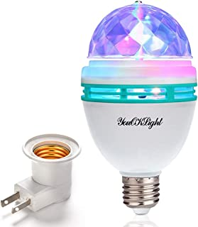 YouOKLight E26/E27 Full Color Rotating Lamp LED Strobe Bulb Multi Crystal Stage Light for Disco Birthday Party Club Bar