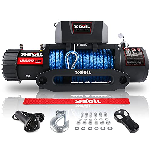 XPV 12000 lb. Electric Winch Truck Winch Waterproof IP67 Electric Winch Synthetic Rope Kit with 2 Wireless Handheld Remotes and Wired Handle for 4WD 4x4 Off Road Vehicle Boat Truck
