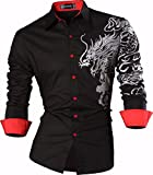 Sportrendy Hombre Casual Slim Dragon Tattoo Manga Larga Button Down Camisa Shirt JZS041 Black S