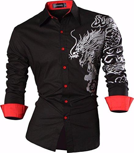 Sportrendy Herren Freizeit Hemden Slim Button Down Long Sleeves Dress Shirts Tops JZS041 Black XL