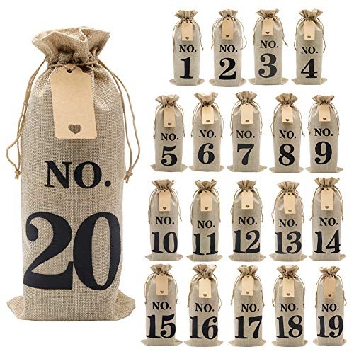 Shintop 20pcs Jute Wine Bags with Gift Tags and 100 Feet Jute Twine, 14 x 6 1/4 inches Hessian Numbered Wine Bottle Gift Bags with Drawstring for Blind Wine Tasting (No.1-No.20, Brown)