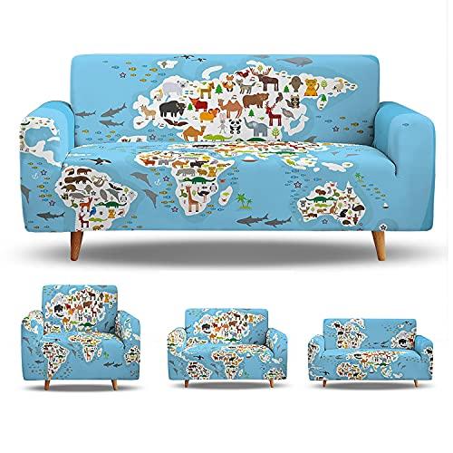 Fundas elásticas para sofá de 1/2/3/4 plazas, fundas elásticas impresas con mapas, protector de muebles de asiento lavable para decoración de sala de estar